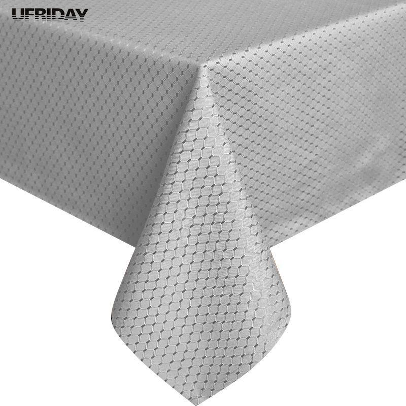UFRIDAY nouvelle nappe De couleur unie 100% Polyester nappe imperméable à l'eau argent Toalha De Mesa nappes carrés durables