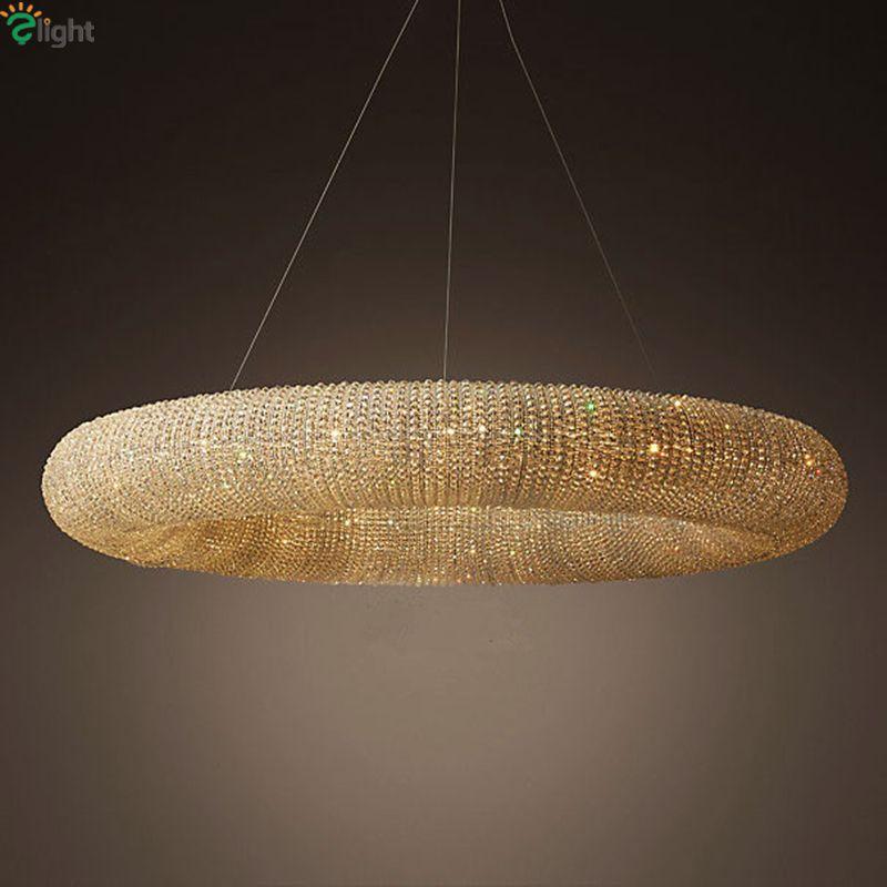 Amerikanischen RH Crystalhalo Glanz De Cristal Led Runde Anhänger Licht K9 Kristall Loft Restaurant Minimalismus Schnur Suspension Lampe