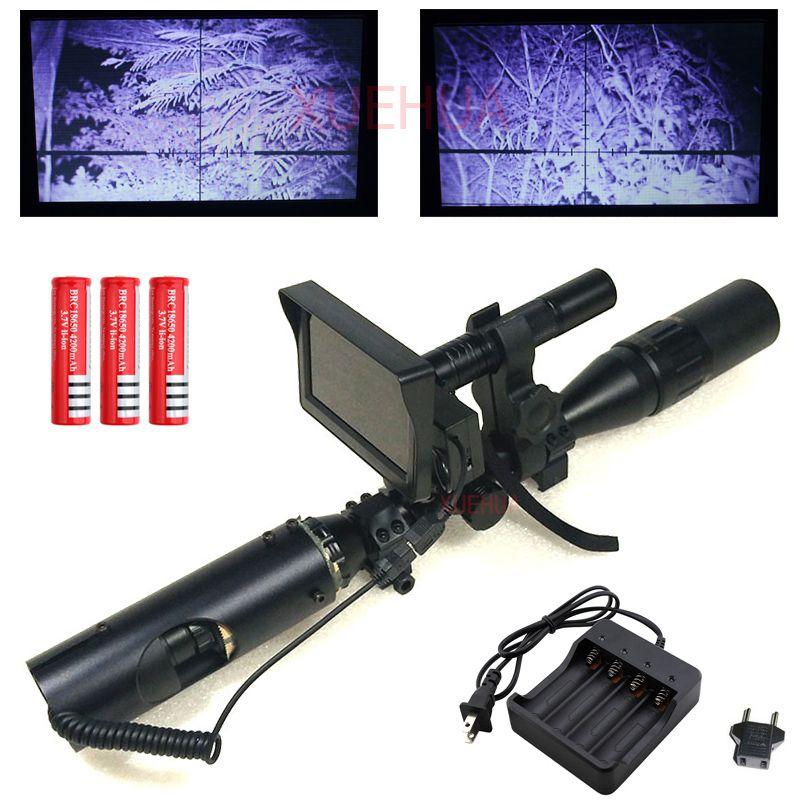 Hot nouvelle optique de chasse en plein air vue tactique numérique infrarouge vision nocturne lunette de visée avec moniteur de batterie et lampe de poche