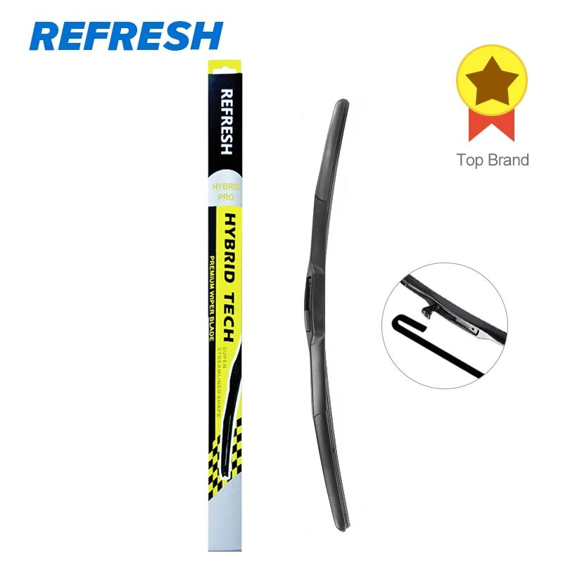 REFRESH Hybrid Wiper Blade Dual Rubber for Best Wipe Windscreen High Performance Fit Hook Arms Only - ( Pack of 1 )