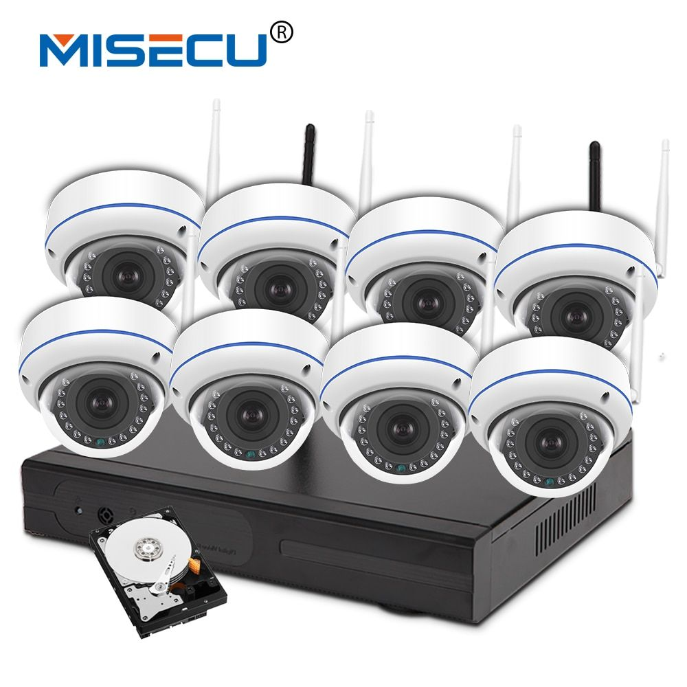 MISECU 960P 8ch Wifi VGA/HDMI KIT plug&play Vandalproof night vision 4TB HDD Wireless nvr Eseenet APP P2P WIFI IP Camera system