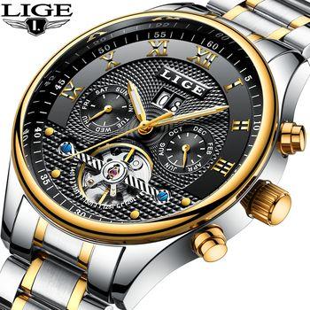 Lige бренд Для мужчин часы автоматические механические Tourbillon классические часы Для мужчин полный Сталь Бизнес наручные часы человек Relojes HOMBRE ...