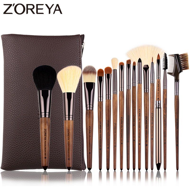 Zoreya Brand 15pcs Walnut Synthetic Hair Makeup Brushes Lip Liner Foundation Concealer Make Up Brushes Tools Essential Sets