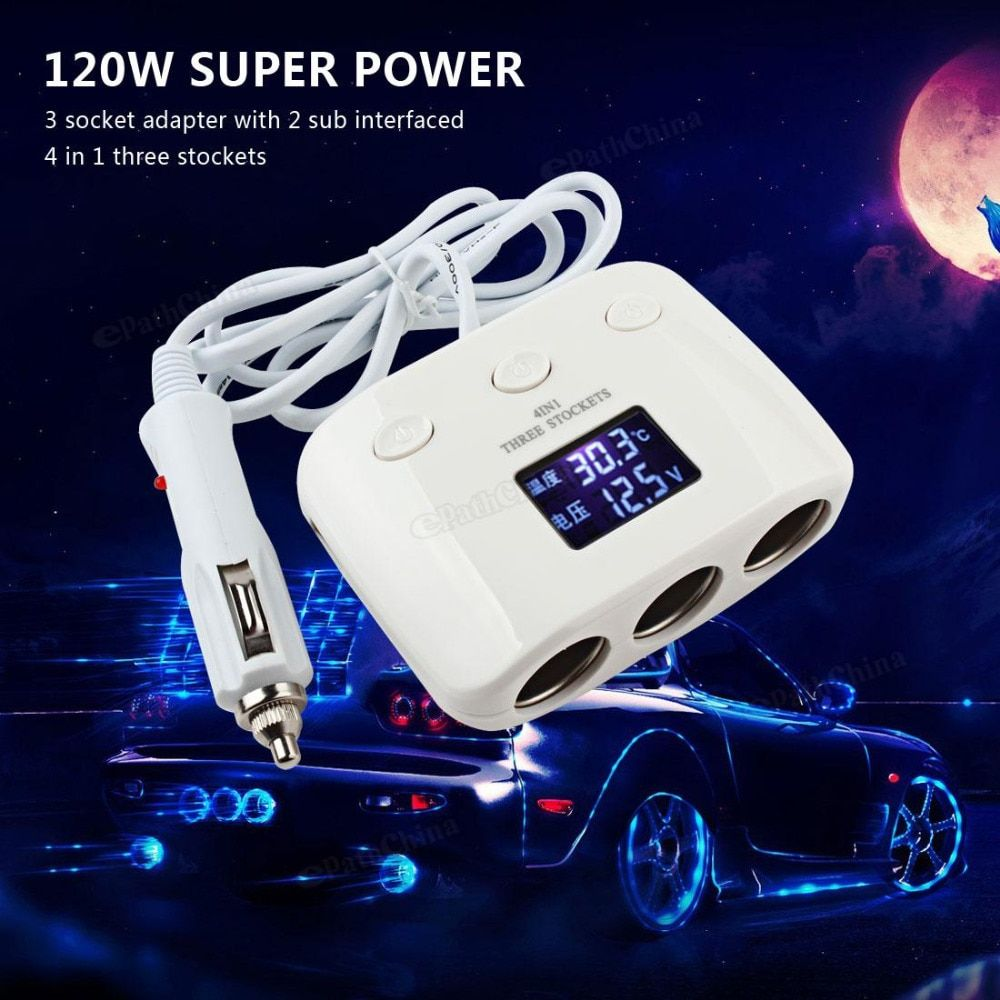 3 Way 120W Auto Car Cigarette Lighter Socket Splitter 2 Dual USB Power Converter Car Charger Adapter Support Automatic Power off