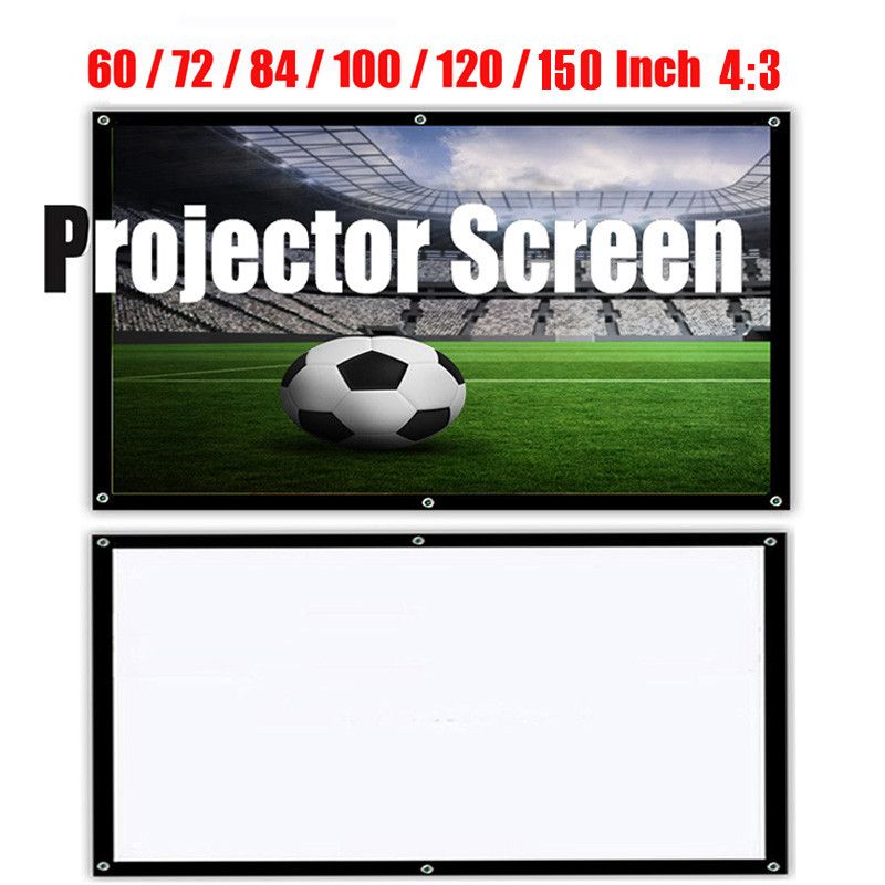 Portable HD 1080P Soft Projector Screen Matt White 4:3 Projector Screen Movie Cloth 60 72 84 100 120 150 Inch For Home Theater