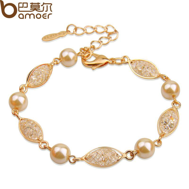 BAMOER Luxus Simuliert Perle Armband Für Frauen Champagner Gold Farbe Zirkonia Qualitäts-schmucksachen JSB020