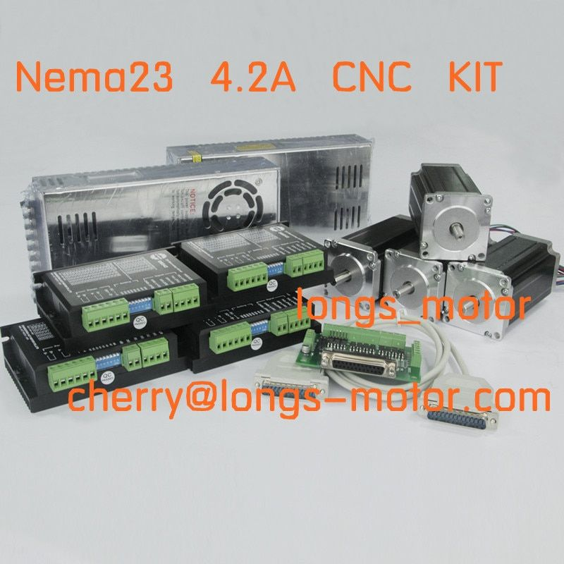 Ship from German Warehous 4axis Nema23 stepper motor 2.8NM 4.2A 4WIRES CNC controller kit Laser Mill Engraving