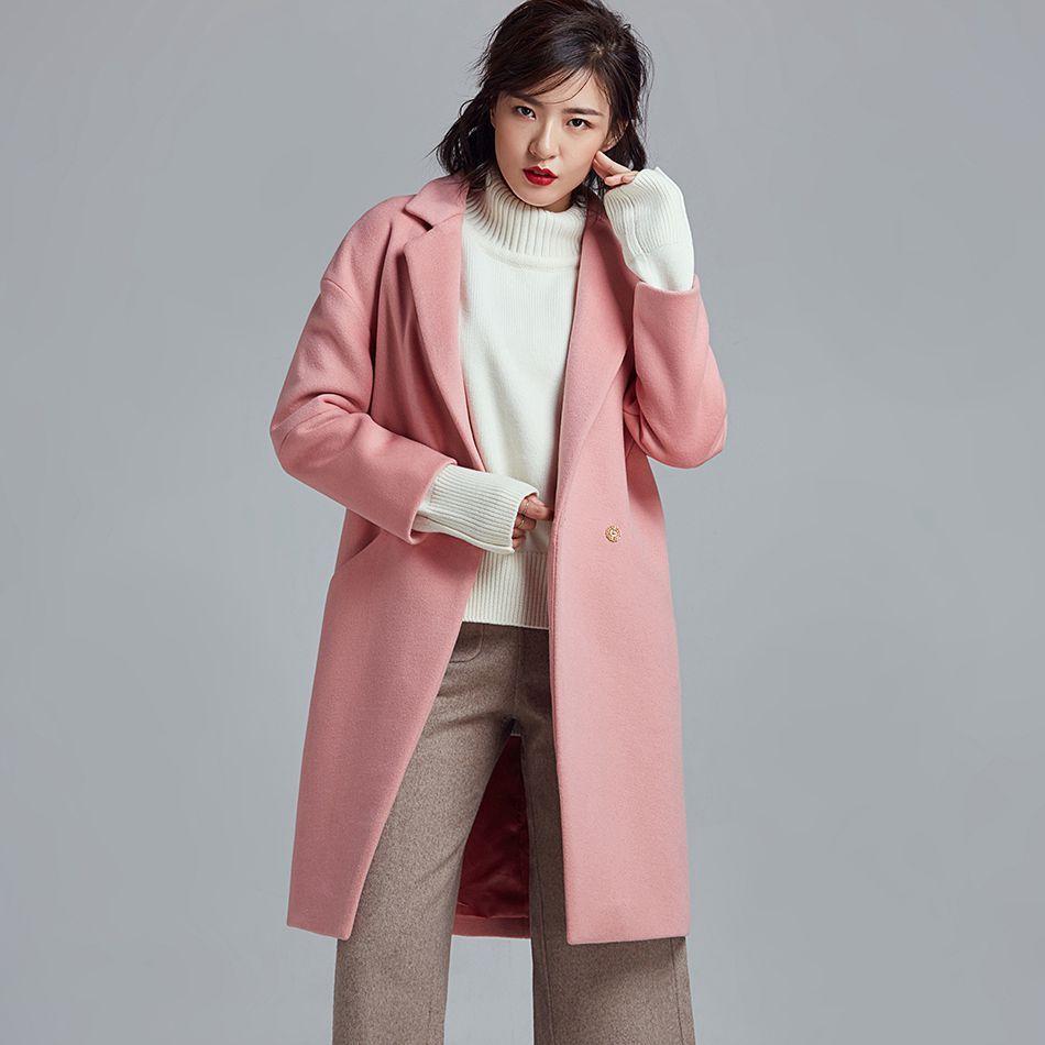 2017 Winter Women Fashion Pink Coat Long Wool & Blends Overcoat Warm Cocoon Type Long Sleeve Trench Coats