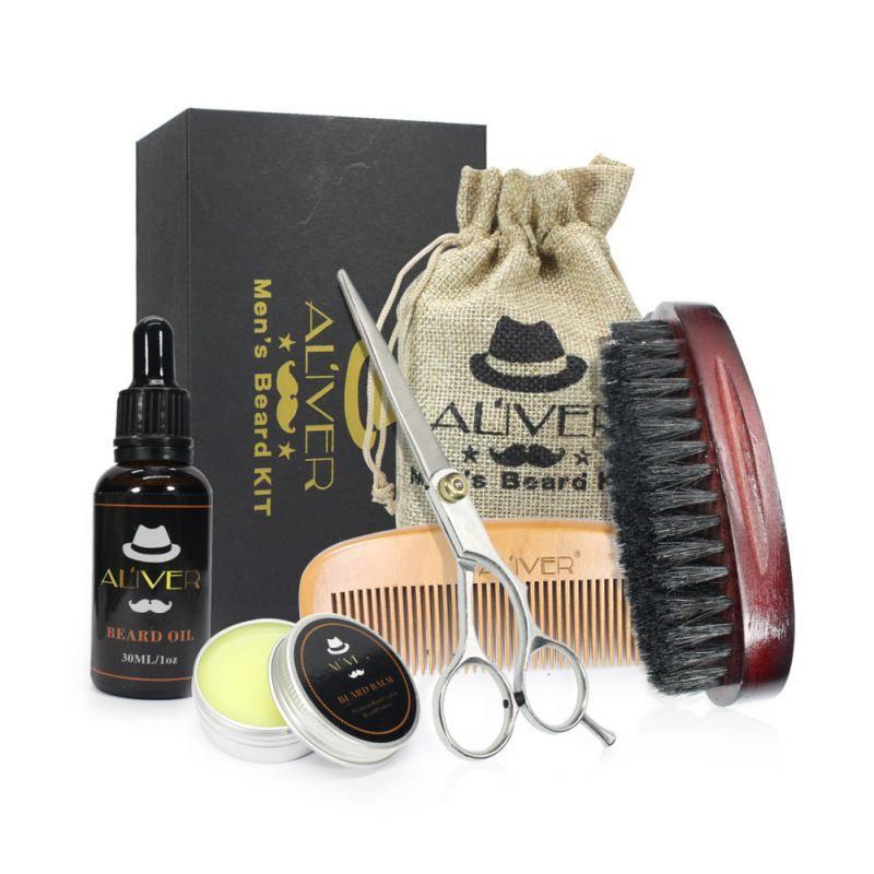 Hommes Moustache Crème Barbe Huile Kit avec Moustache Peigne Brosse Sac De Rangement