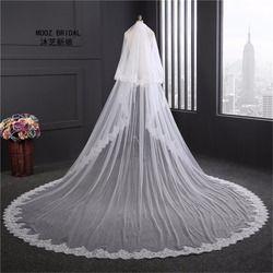 Super Lebar Bridal Veil Baru 2017 Dua Lapisan 3.5 m putih/Gading Bridal Aksesori Jilbab Untuk Pengantin Renda Pernikahan Jilbab dengan sisir