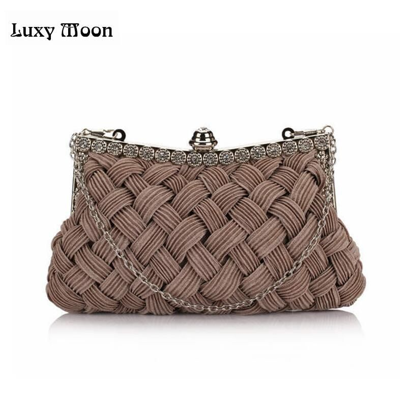 Luxy Moon knitted diamond women's day clutch Hot evening bag bride clutch with Chains tote party bag for evening full dress