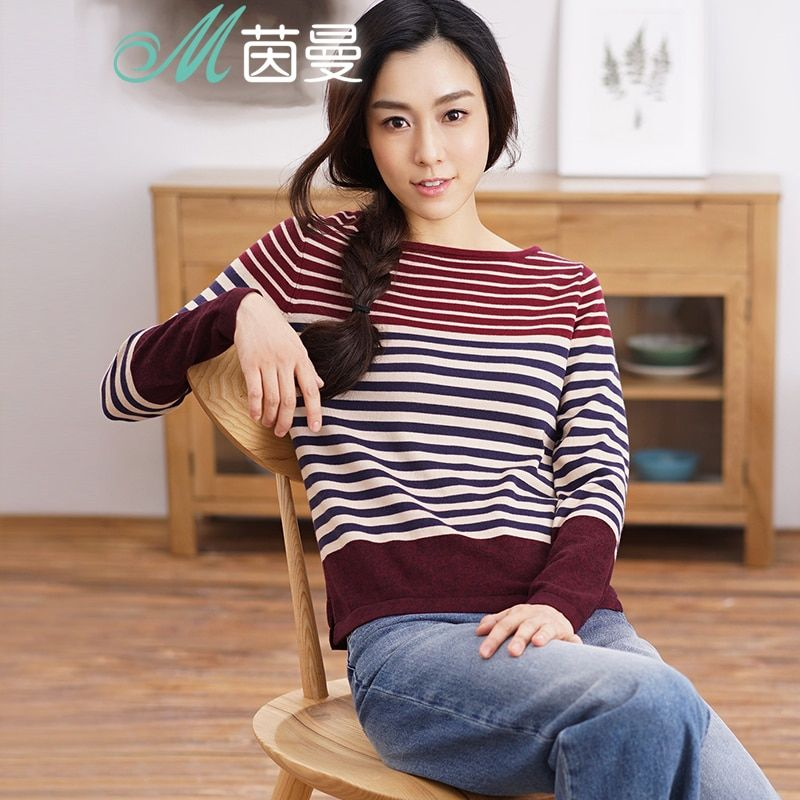 INMAN Women 2018 Autumn NEW All-match Casual O-Neck Striped Pullover Sweater Long Sleeve Autumn Knitting Tops