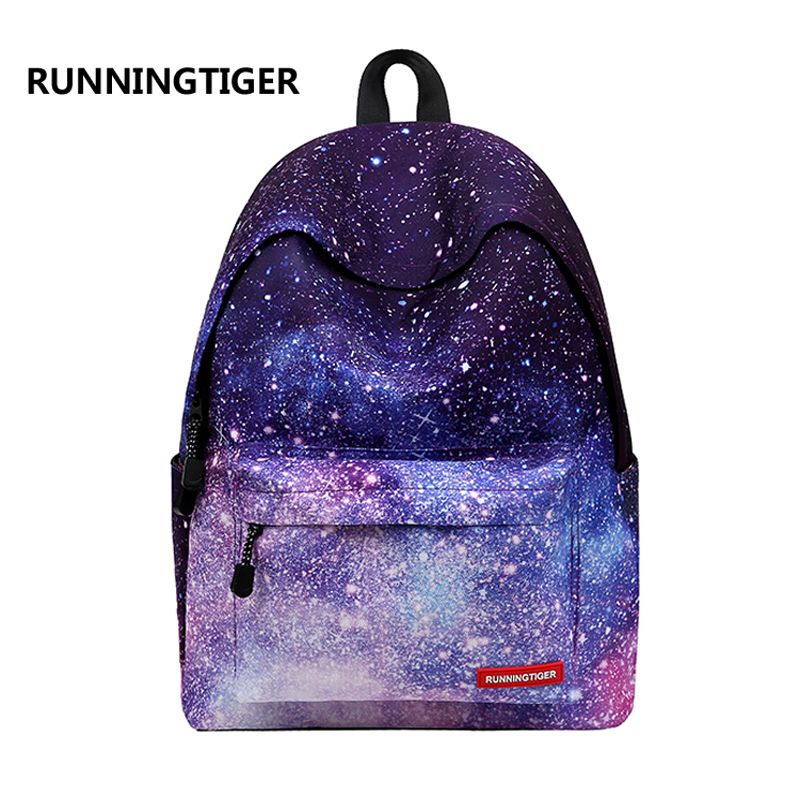 Women backpack for teenage girls school backpack bag <font><b>Stars</b></font> Universe Space Printing Canvas Female Backpacks for college students