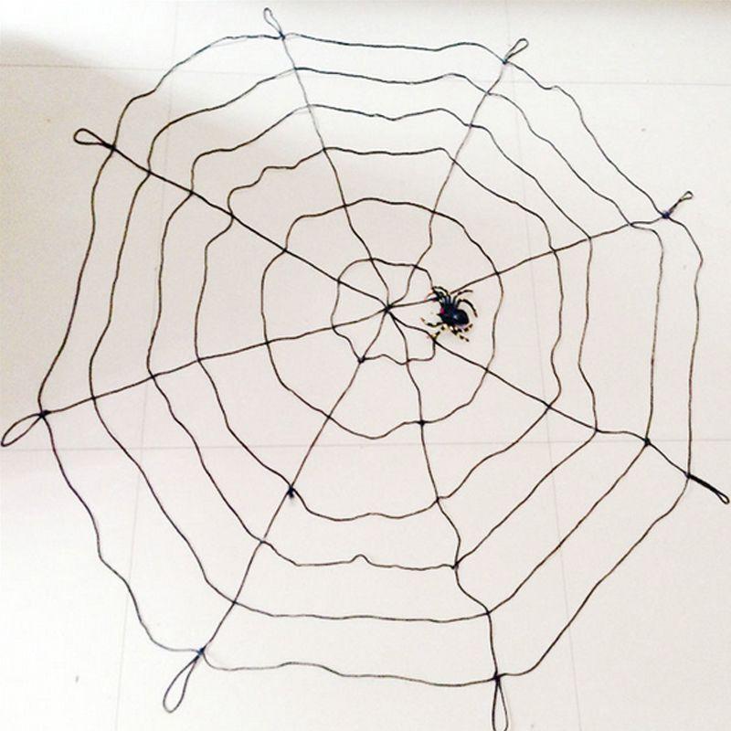 Toile d'araignée noire et blanche Halloween 1.5 m avec araignée pour les cimetières décorations d'halloween