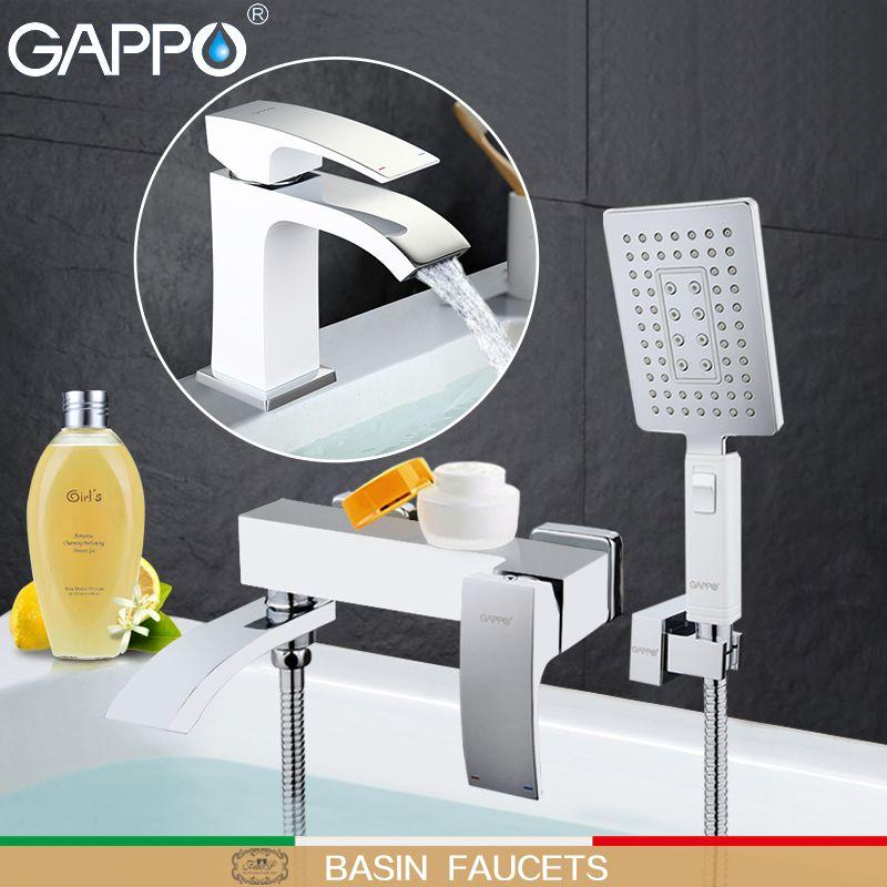 GAPPO weiß Waschtischarmaturen becken waschbecken mischer bad dusche wasserhahn bad duschkopf wasserfall wasserhahn Sanitärkeramik Suite