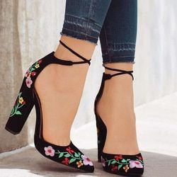41 Size Embroider Women Pumps High Heels Pointed Toe Lace up Cross-tie Women High Heels Elegant Ladies Shoes Women SWB0032