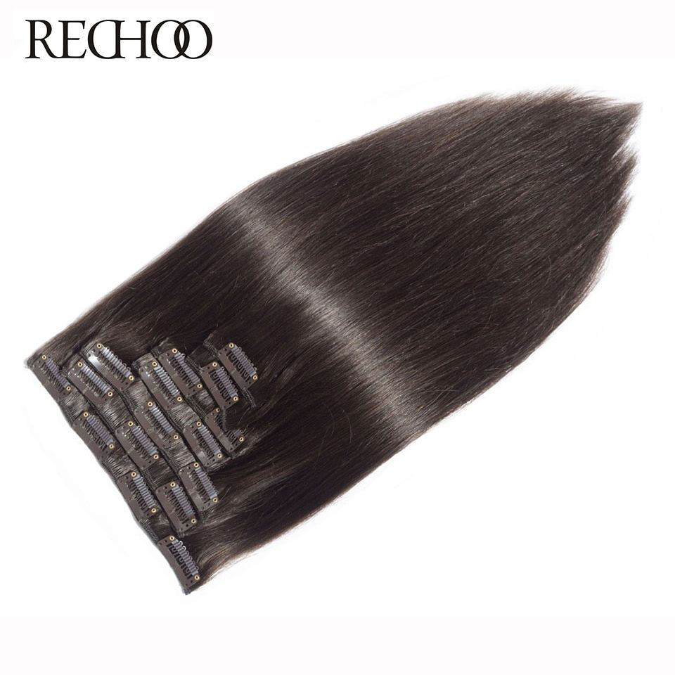 Rechoo Machine Made Remy Straight Clip In <font><b>Human</b></font> Hair Extensions 100G 120G 100% <font><b>Human</b></font> Hair Clips In #2 Dark Brown Color 18 22