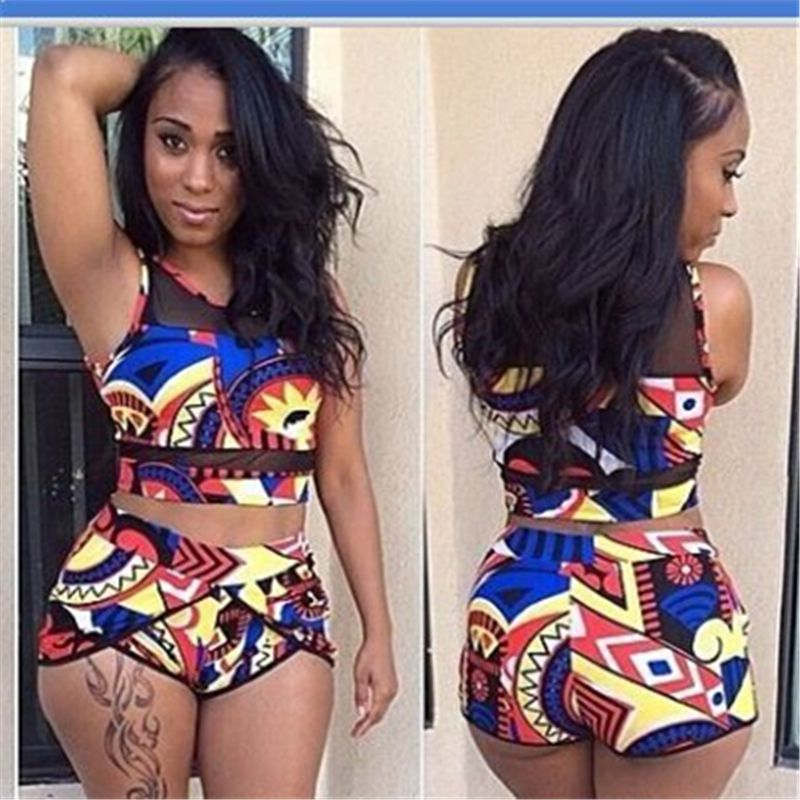 Femmes taille haute Bikini maillots de bain grande taille maillot de bain imprimé africain Biquini grand deux pièces cou maillots de bain 2019 été XL XXL