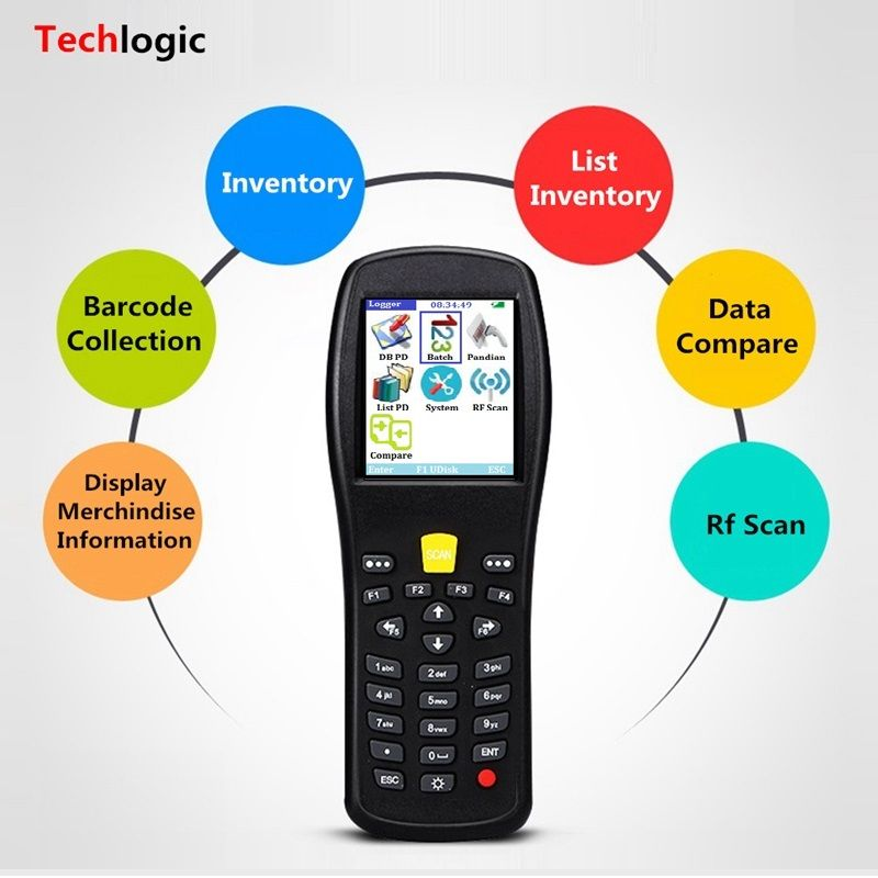 Techlogic X5 Barcode-scanner Wireless Laser Handterminal PDA Lager Supermarkt Inventar Display Produktinformationen