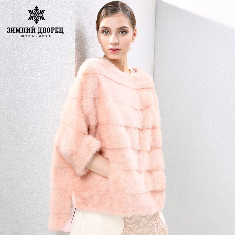 2018 autumn and winter new Fashion Slim mink coat women fur coats Short mink fur coat O-Neck fur WINTER PALACE