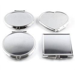CN-RUBR Diverses Formes Portable Pliant Miroir Mini Compact En Acier Inoxydable Métal Maquillage Cosmétique Miroir De Poche Pour Le Maquillage Outils