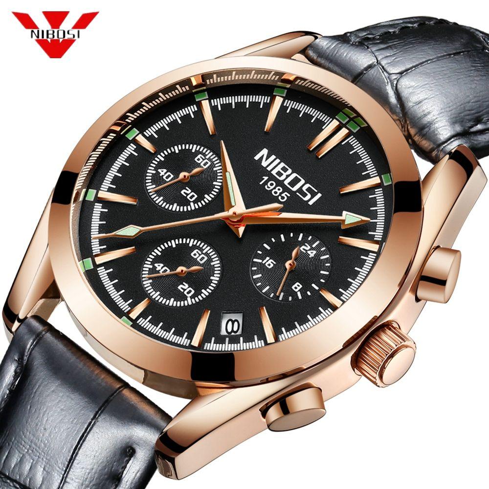 Relogio Masculino NIBOSI Mens Watches Top Brand Luxury Business Quartz Waterproof Wristwatches Leather Strap Watch Reloj Hombre