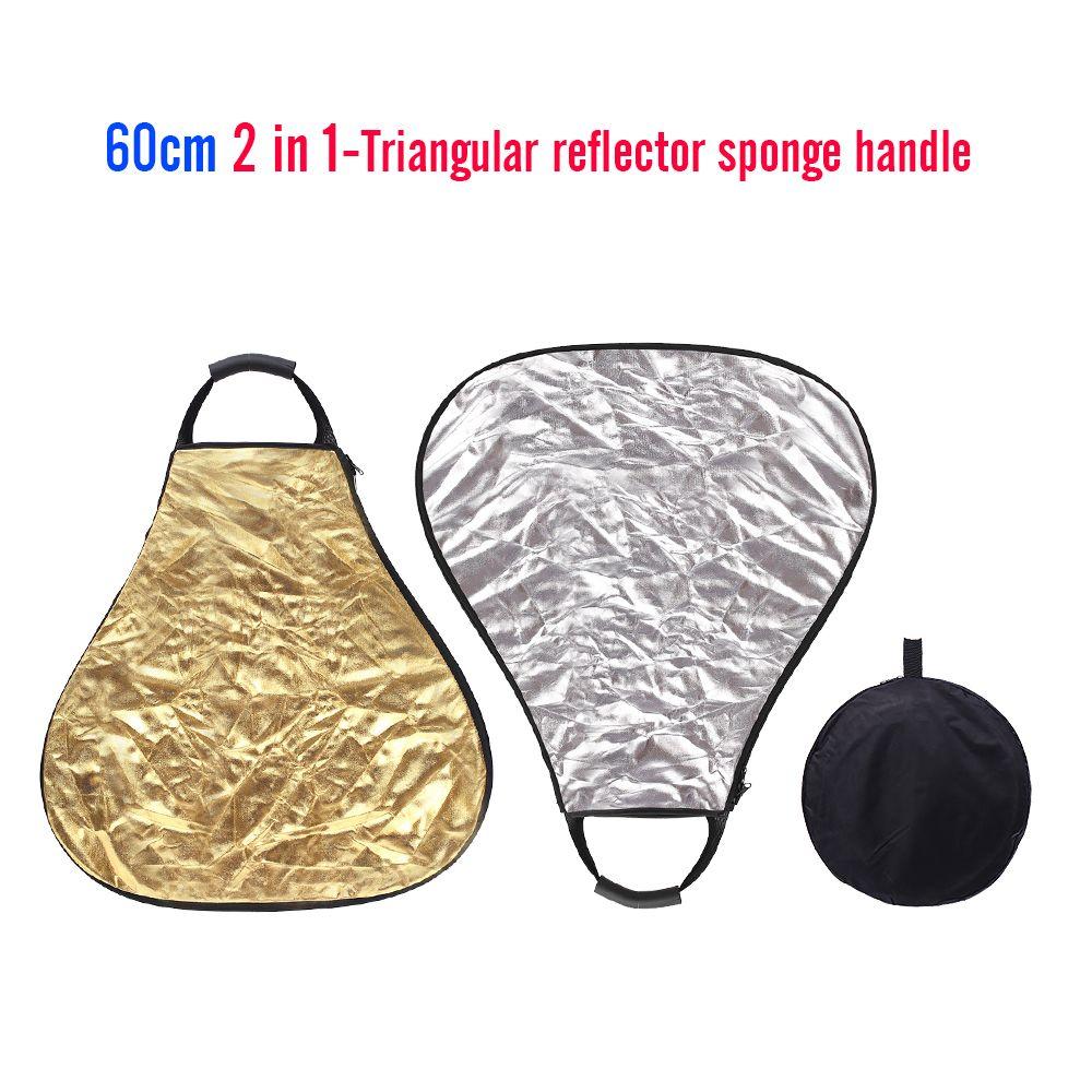 CY 60 CM 2 en 1 argent et or Portable triangle Studio Photo réflecteur pliable éclairage photographique réflecteur + sac de transport