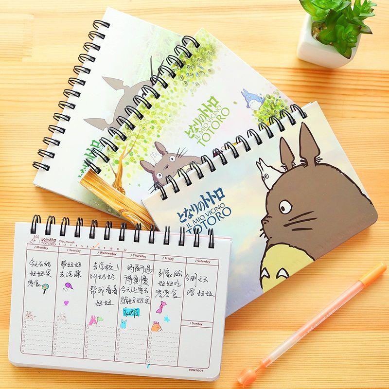 Cartoon Totoro Wöchentlich plan Spirale notebook Agenda für woche Zeitplan organisator planer Cuadernos büro schulbedarf 6821