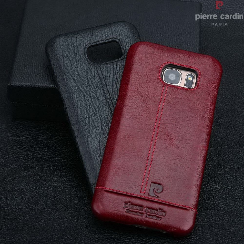 Pierre Cardin Case For Samsung Galaxy S7 S7 edge S6 S6 edge Edge Plus Stitched Genuine Leather Slim Hard Back Cover Phone Cases