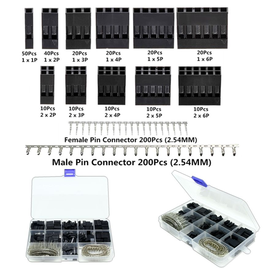 620Pcs Dupont Connector 2.54mm, Dupont Cable Jumper Wire Pin Header Housing Kit, Male Crimp Pins+Female Pin Terminal Connector