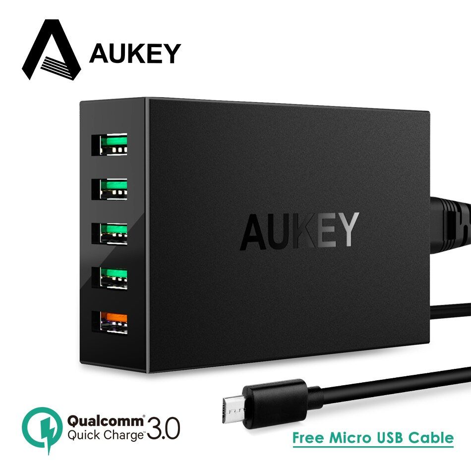 Quick Charge QC 3.0 AUKEY 5-Port USB Charger Station with Micro-USB Cable for iPhone iPad Samsung Galaxy Xiaomi mi5 Meizu & More