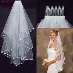 Pernikahan Sederhana Tulle Putih Gading Dua Lapisan Bridal Veil Ribbon Ujung Murah Wanita Jilbab Pengantin Aksesoris 75 cm Pendek Dengan sisir