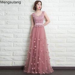 Robe De Soiree 2019 V-Leher Tanpa Lengan Panjang Renda Cameo Merah Renda Malam Gaun Renda Vestido De Festa Gaun Pesta gaun Prom