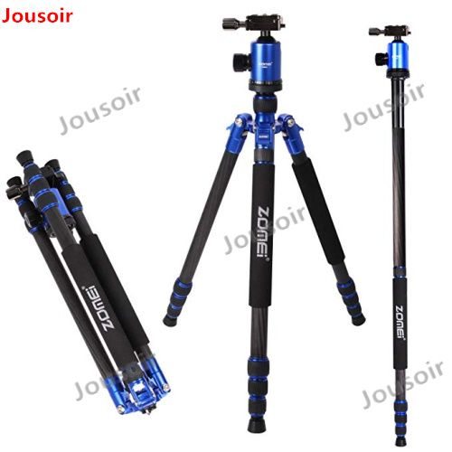 ZOMEI Z888C Professional Travel tripod Carbon Fiber camera Monopod Stand & Ball head with Bag for DSLR camera 5 Color CD50