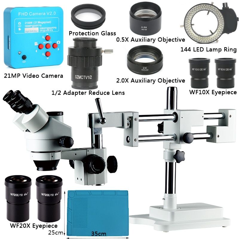 3.5X 7X 45X 90X Double Boom Stand Zoom Simul Focal Trinocular Stereo Microscope+21MP Camera Microscope For Industrial PCB Repair