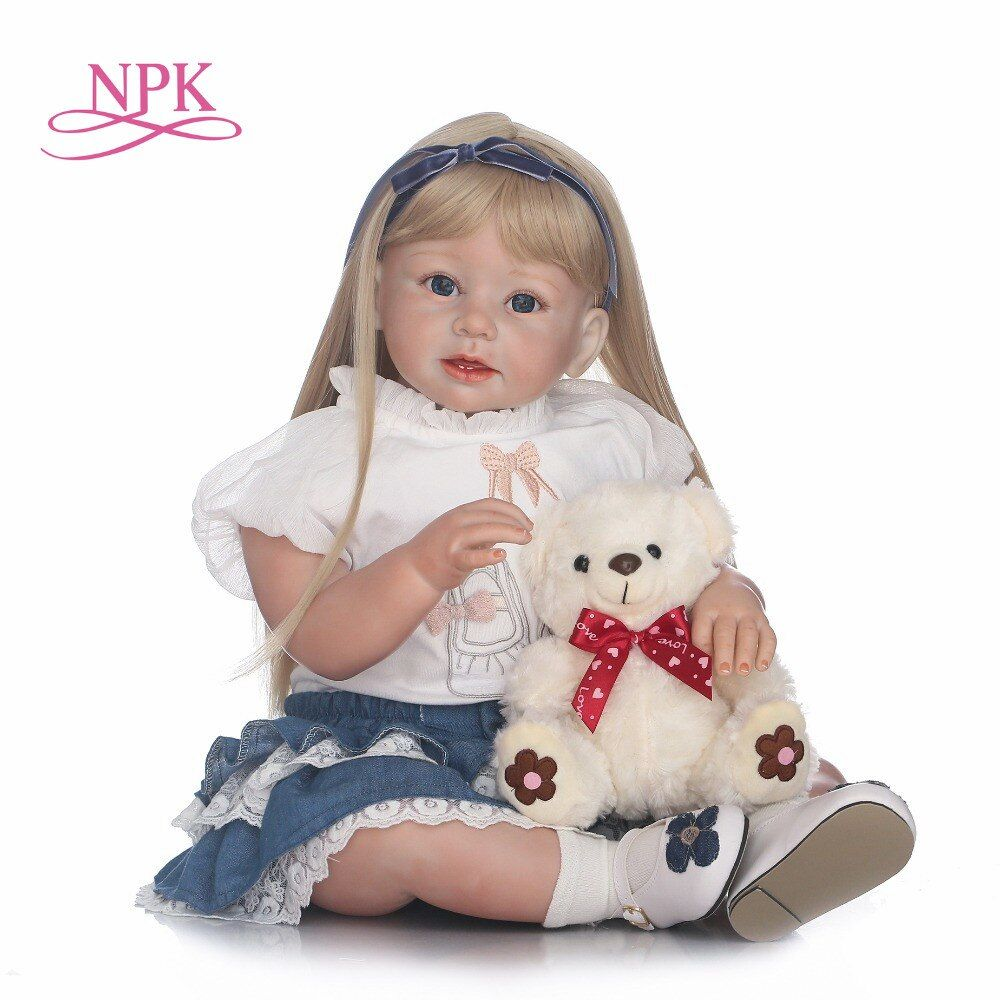 NPK 70cm Silicone Reborn Babies Lifelike Toddler Angel Baby Bonecas Girl Doll Bebe Reborn Brinquedos Silicone Toys For Kids Gift