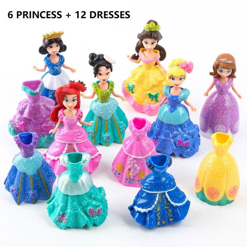 Ensemble vente ma mignonne petite Anna et Eelsa Sofia princesse 6 poupées + 12 robe jouet Action Poni licorne vinyle fille cadeau d'anniversaire