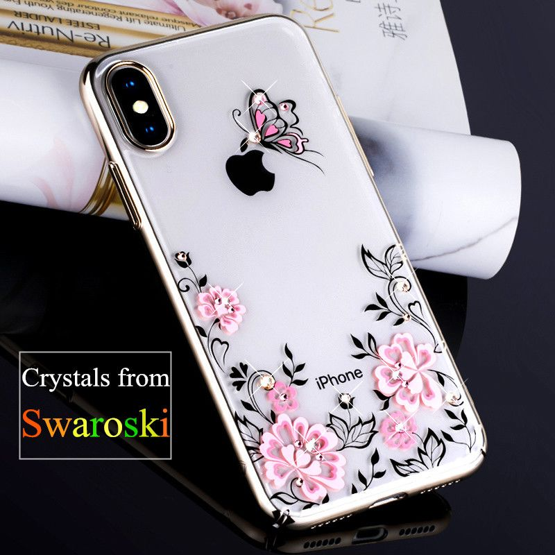 KINGXBAR für iPhone X Fall Swarovski Element Strass Capa Kristall Diamant Fall für iPhone X Fall Kirschblüte Blume Coque