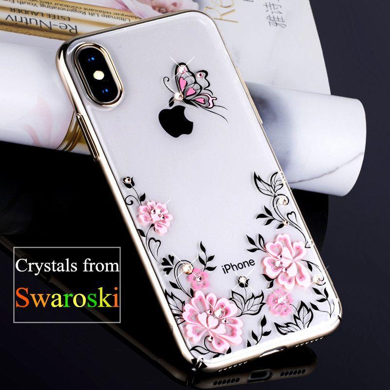 KINGXBAR for iPhone X Case Swarovski Element Rhinestone Capa Crystal Diamond Case for iPhone X Case Cherry Blossom Flower Coque
