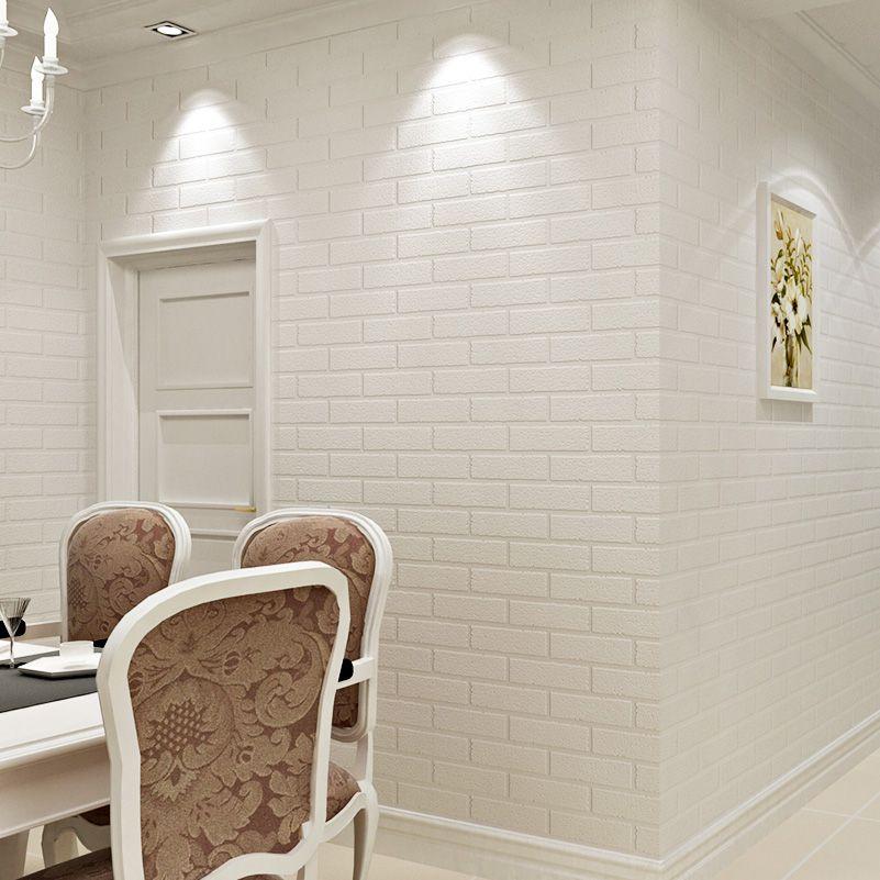 Современные 3D кирпич Off White пены толщиной тиснением виниловые покрытия стен рулон бумаги фоне стены гостиной спальне обои