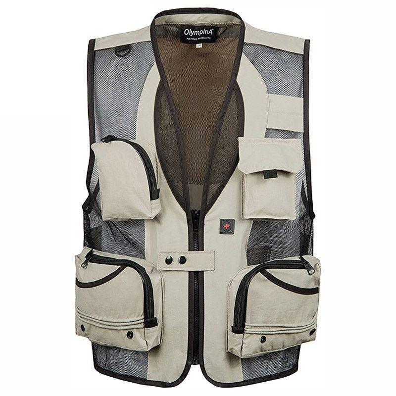 Men's Multi Pocket Detachable Durable Vest Men Army Green Sleeveless Jacket Waistcoat Journalist Vest Travel Work Casual Coat