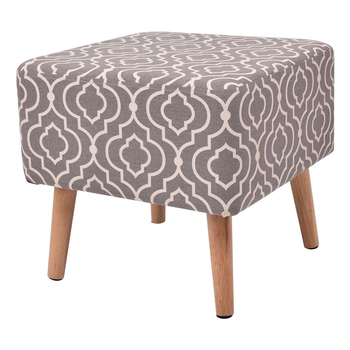Giantex Square Stool Modern Living Room Seat Footrest Stool Ottoman with 4 Wooden Solid Legs Footstool Home Furniture HW54452
