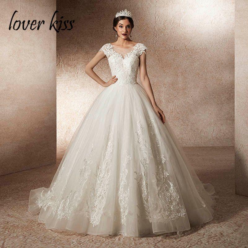 Liebhaber Kuss Vestido De Noiva 2019 Tüll Spitze Cap Sleeve Brautkleider Prinzessin Kirche Brautkleider trouwjurk roben mariages