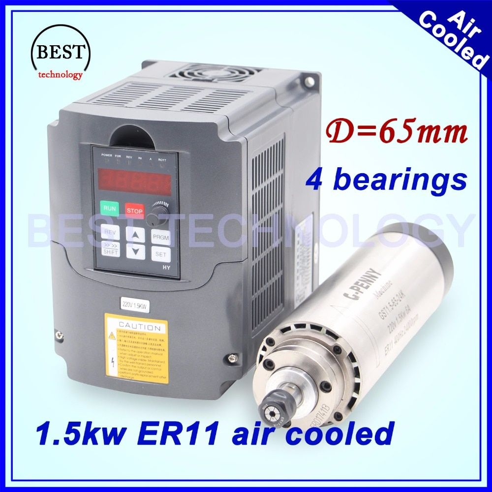New arrival! 1.5kw ER11 air cooled spindle milling spindle 4 bearing air cooling CNC 65x204mm Precision 0.01 & 1.5kw 220v VFD