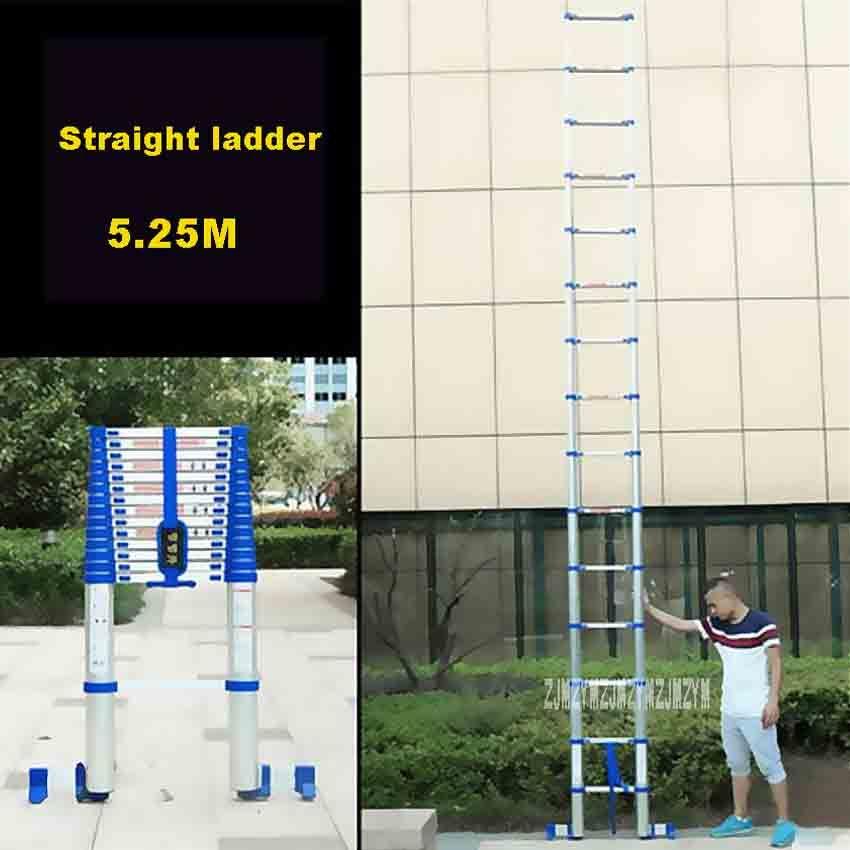 5,25 mt Aluminium Legierung Verdicken einseitige Gerade Leiter JJS511 Tragbare Haushalt Verlängerung Leiter 15-Schritt Engineering Leiter