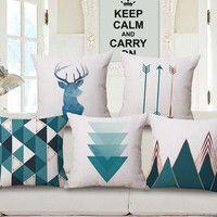 Fundas de cojín geométrico de ciervo de estilo nórdico Fundas de cojín de flechas de montaña fundas de almohada de algodón de lino fundas de almohada dormitorio sofá Decoración