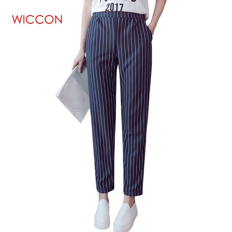 Woman pants Spring Autumn Female Elastic Trousers Women High Waist Stripes Casual Women Pants Work Wear Trousers Harem Pants