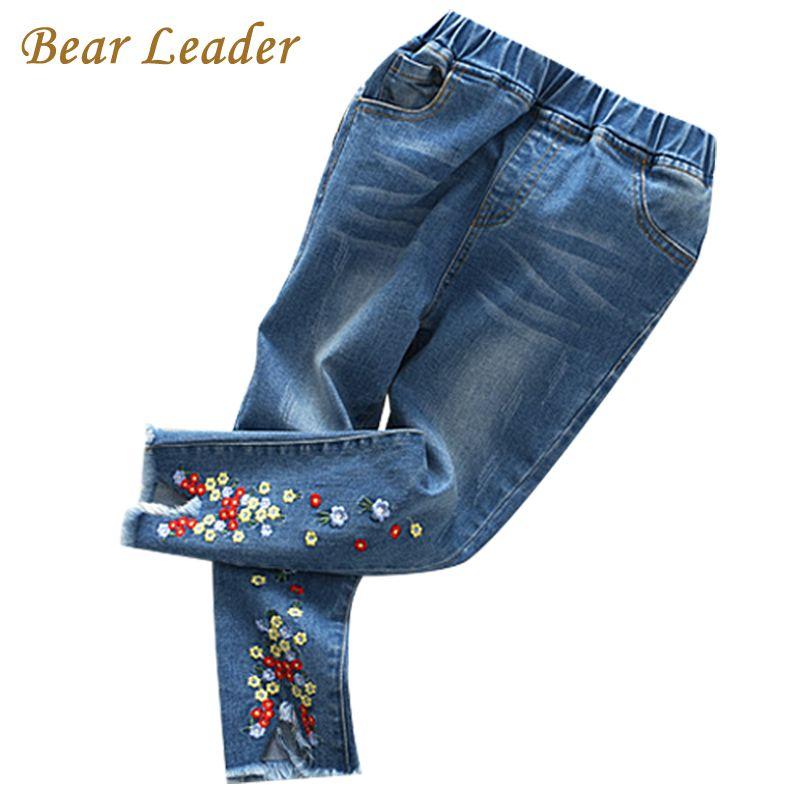 Bear Leader Girls Jeans 2017 New Autumn Jeans Trousers Flowers Embroidery Kids Pants Children Clothing Pantalon Fillette 2-7Y