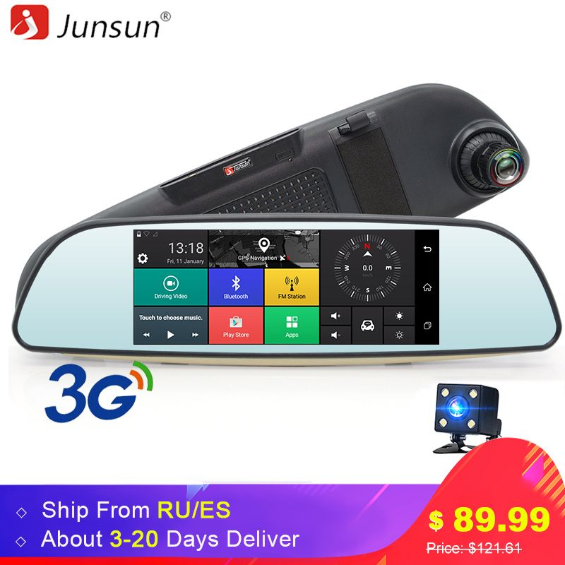 Junsun E515 Car DVR 3G Mirror 6.5 Dash Cam Full HD <font><b>1080P</b></font> Video Recorder Camera Android 5.0 GPS Rearview Mirror Registrar