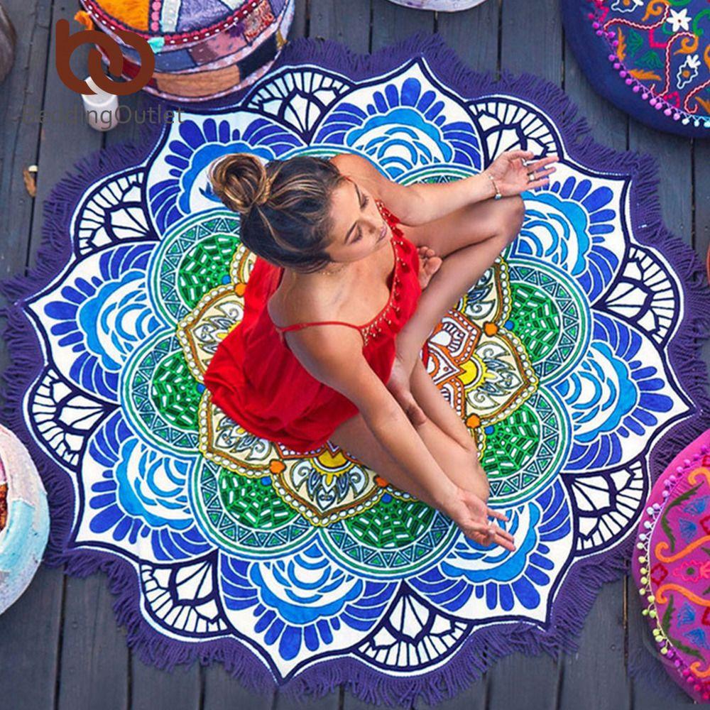 BeddingOutlet Chakra Beach Towel Tassel Indian Toalla Mandala Tapestry Sunblock Round Cover-Up Blanket Lotus Bohemian Yoga Mat